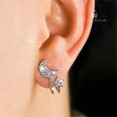 18k white gold gf made with SWAROVSKI crystal moon star stud earrings 925 silver