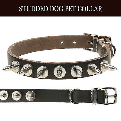 Adjustable Strong Real Leather Dog Collar |Pet Puppy|Studded Spike|Made In UK