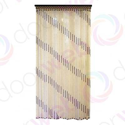 Wooden BEADED DOOR CURTAIN Bamboo Beads Stripes Pattern String Fly Bug Screen