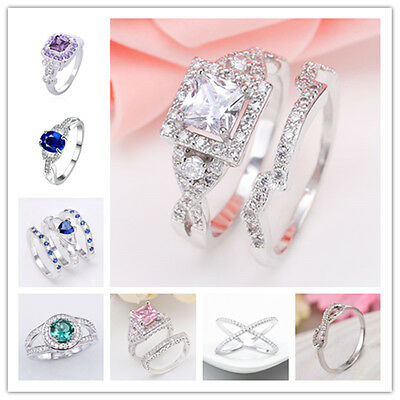 Fashion Jewelry Women 925 Sterling Silver Gems Sapphire Claddagh Statement Ring