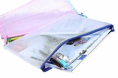 3 pcs A4 See Through Zip Stationery Document Clear File Folder Exam Pencil Case
