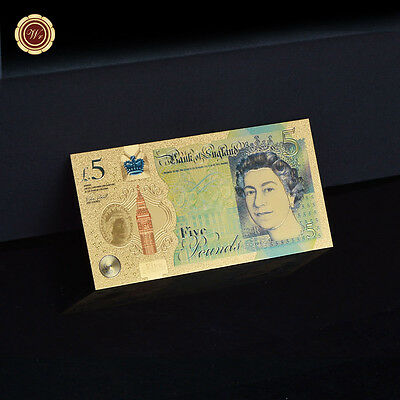 WR Great Britain £5 Pound Gold Banknote Queen Elizabeth ⅡGold Color UK Note QE Ⅱ