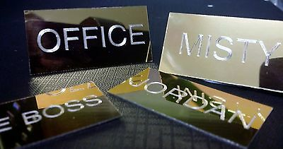 Brass Engraved Name Plate - self adhesive personalised sign label 25mm x 50mm