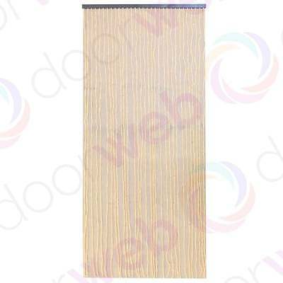 Wooden BEADED DOOR CURTAIN Bamboo Beads Natural Wood String Fly Bug Screen