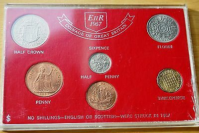 Coinage Of Great Britain Elizabeth II 1967 Year Set 6 Coins In Perspex Case #