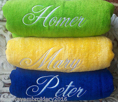 LOT of 3 Personalized Embroidered beach towels - bridal party birthday vacation
