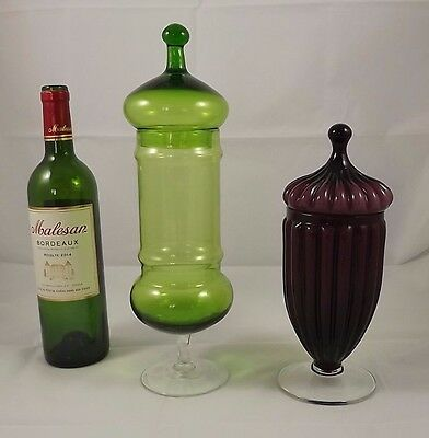 Vintage french 2 GLASS APOTHECARY JAR or Candy LIDDED VASE Pop Art Deco