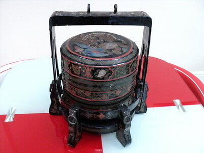 Antique Chinese Stacked WEDDING DOWRY Lacquer Picnic box