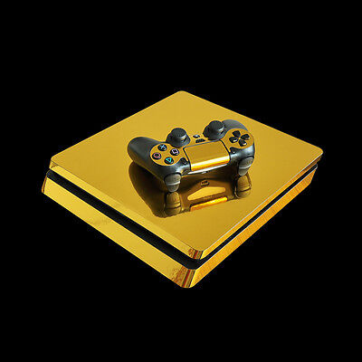 Gold Game Cover Skin For Sony PS4 Slim Console Stickers & 2 Controllers Skin