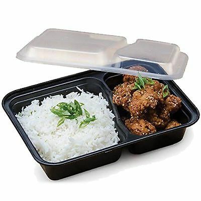 Plastic Food Containers 2 W/ Lid Lunch Box Storage Pack of 10 x Compartment
