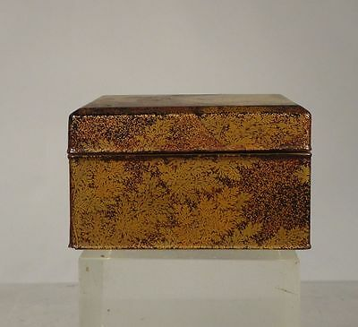 Antique Japanese 19th Century Makie Lacquer Box FLoral Leaves Fern Gilt