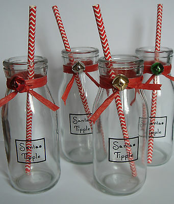 Santas tipple retro traditional glass milk bottle and straw