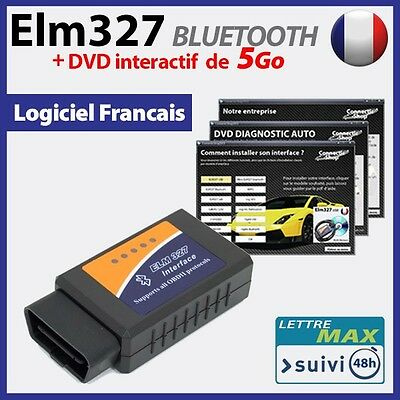 ELM 327 bluetooth Interface OBD2 + DVD INTERACTIF de 5 Go