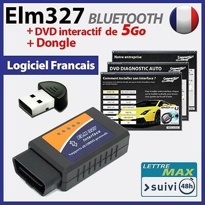 ELM 327 bluetooth  + DONGLE Bluetooth OBD2 + DVD INTERACTIF de 5 Go