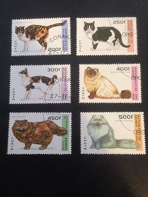 Guinea 1996 Cats Used Set Of 6