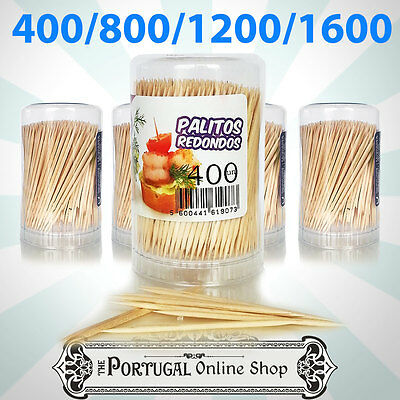 400 - 1600 Wooden Toothpicks Cocktail Cherry Olives Sticks Palitos Party