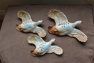 BESWICK  FLYING BIRDS - WALL PLAQUES  -Set of 3 PINK LEGGED PARTRIDGES  (1188)