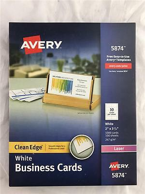 "NEW Avery 5874 Clean Edge White Business Cards 1000 Cards 2"" x 3 1/2"" Laser"