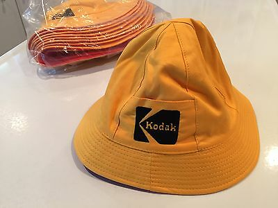 NOS Vintage KODAK Bucket Sun Rain Hat Cap Reversable Orange & Yellow Cotton Sz M