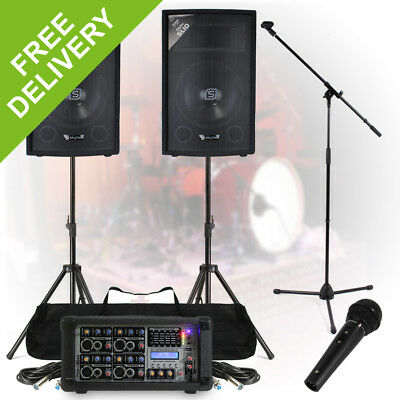 Complete Band PA System 200W 4-Ch Mixer Amp Speakers DJ Studio Live Rehearsal