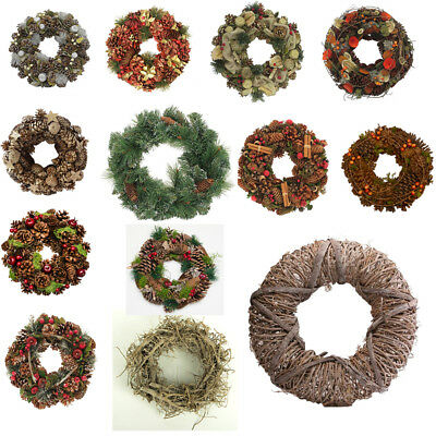 """30cm (12"""") or 38cm (14"""") Natural Christmas Wreath,Hanging Decoration,Pine Cones"""