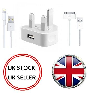 Mains Charger USB Wall Plug + USB Data Sync Cable For iPhone iPhone 5 6 iPad UK