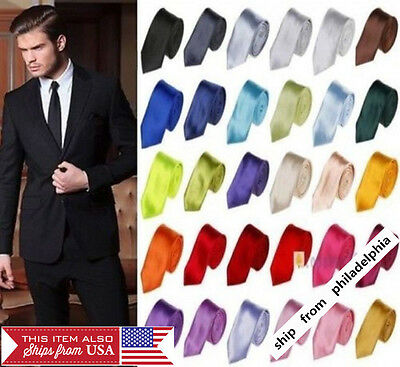 Casual Solid Plain Classic Skinny  New Silk like Woven Slim Necktie Men's Tie