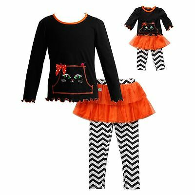 Dollie Me Girl 4-12 and Doll Matching Halloween Cat Top Outfit American Girls