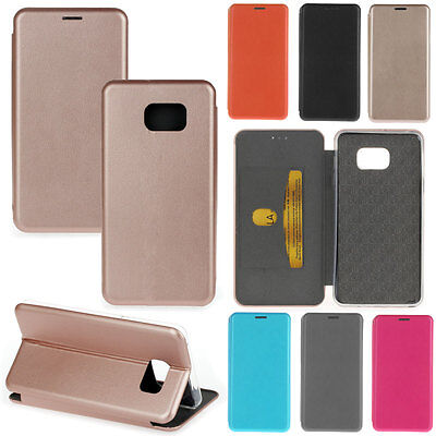 Luxury Genuine Soft Leather Slim Card Wallet Stand Case Cover For Samsung Galaxy