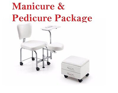 Portable Salon Chair Pedicure Stool Manicure Table Tray Foot Rest Client Chair