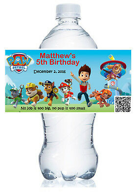 20 PERSONALIZED PAW PATROL BIRTHDAY FAVORS WATER BOTTLE LABELS  waterproof ink
