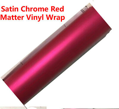 Deluxe Chrome Vinyl Film Wrap Red Satin Matte Car Roof Decal Sticker 1.51 x 0.5M
