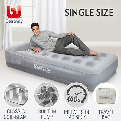 NEW Single Size Sturdy Inflatable Flocked Mattress with Built-in Pillow & Pump