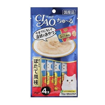CIAO Churu Cat Lick Snacks Flavor Tuna Scallop Fillet 4pcs Cat Food