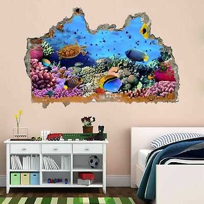 Coral Fishes Aquarium 3D Smashed Wall Art Stickers Kids Bedroom Nursery AC22