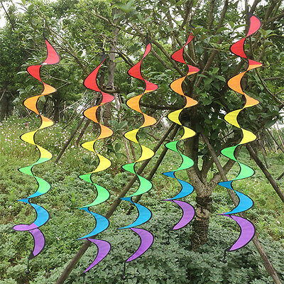 1pc Colorful Rainbow Spiral Wind Spinner Camping Tent Home Garden Decoration