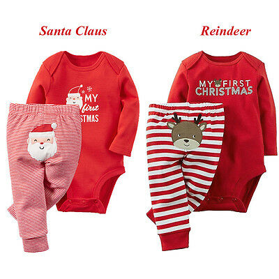 My First Christmas Baby Boys Girls Romper Bodysuit+ Pants Clothes Outfit 0-18M