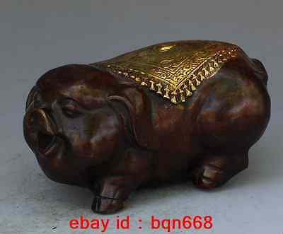"4.7"" old China Bronze Gilt wealth lucky adorable Zodiac pig fengshui statue"