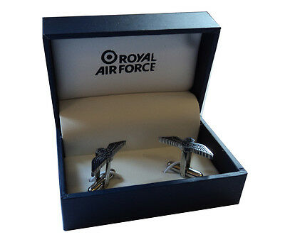 Royal Air Force Blue Wings Cufflinks in RAF Gift Box Sweetheart Aviator Style