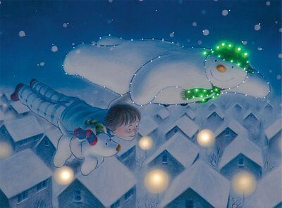 Christmas Decoration Fibre Optic Canvas-Snowman and Snowdog Flying Over Roof Top