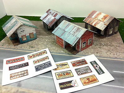 N Scale Buildings - 4 pcs Small Weathered Buildings / Shanty - Cardstock kit set