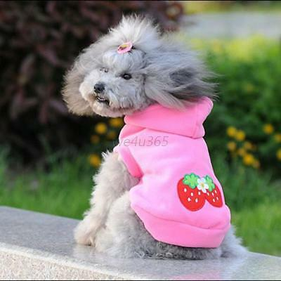 Lovely Pet Dog Hoodie Sweater Warm Jacket Coat Puppy Clothes Outfit Pink S-2XL