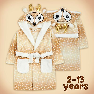 Kids Childrens Unisex Rudolph Reindeer Xmas Novelty Hooded Dressing Gown Robe UK