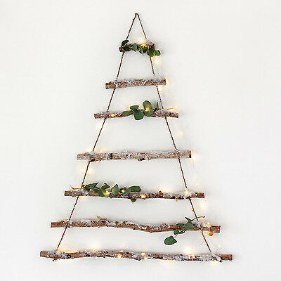 Birch Branch Hanging Alternative Christmas Tree Decoration with Snow Dusting