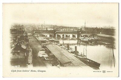 GLASGOW River Clyde from Sailors' Home, Old Postcard Unused, Reliable Series