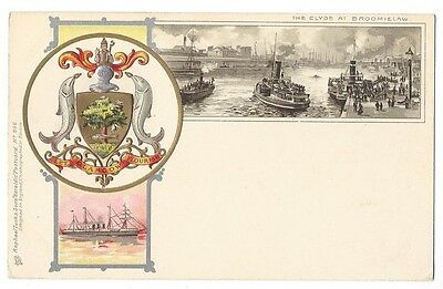 GLASGOW The Broomielaw, Embossed Coat of Arms, U/B Postcard by Tuck, Unused
