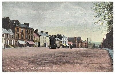 MOFFAT High Street with Monument, Old Postcard Unused, National Series