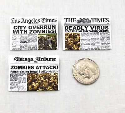 Miniature ZOMBIE APOCALYPSE NEWSPAPER Dollhouse 1:12 Scale