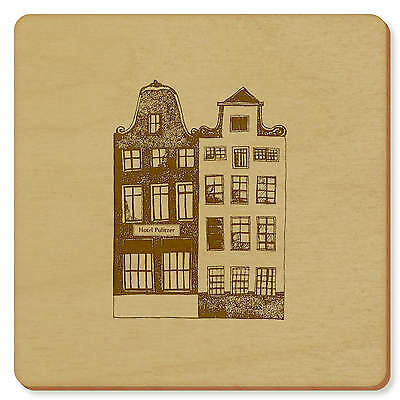 6 x 'Amsterdam Buildings' 95mm x 3mm Square Wooden Coasters (CR00020411)