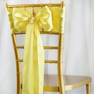 100/PK ~NEW~ Satin Chair Sash Bow Wedding Party Banquet 1100+ Colors!
